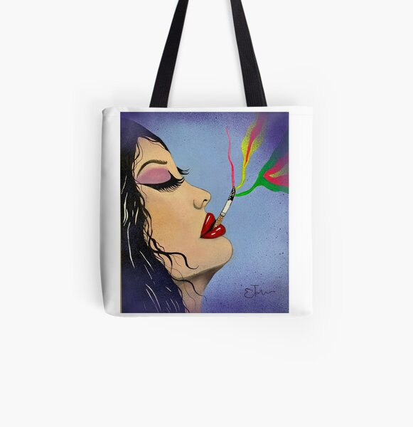 Pop Art Smoke acrylic hand painted canvas  All Over Print Tote Bag