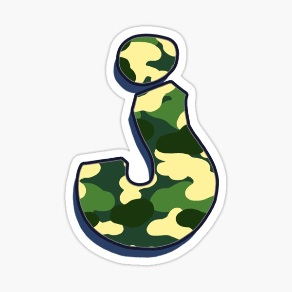 Letter J - Camo Sticker
