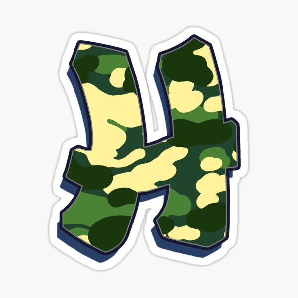 Letter H - Camo Sticker