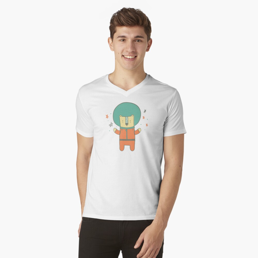 Bearly There in Dreamsickle  V-Neck T-Shirt