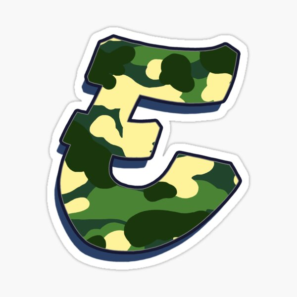 Letter E - Camo Sticker