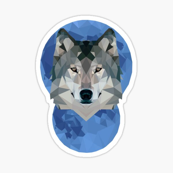 Low Poly Moon + Wolf Sticker