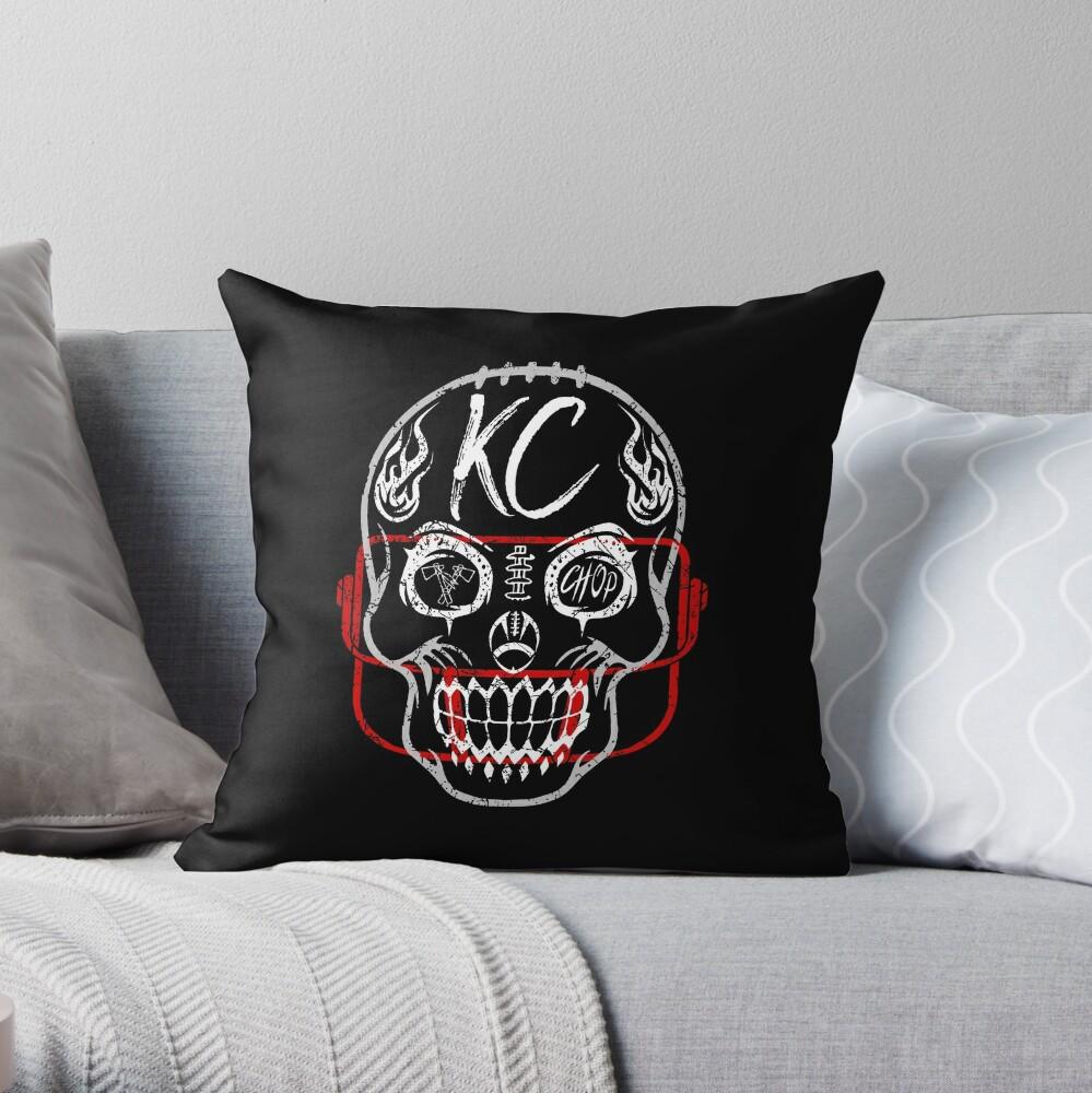 Kansas City Chiefs Sugar Skull Fan Gift Souvenir Football, Halloween Throw Pillow