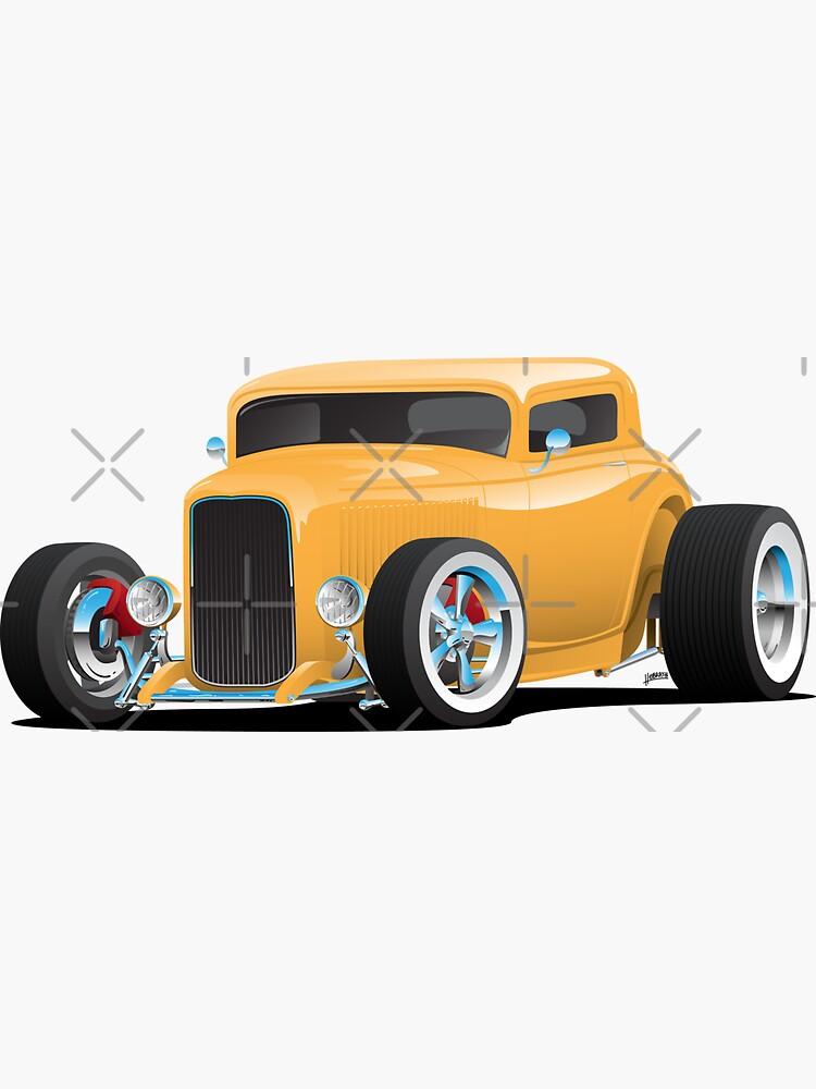 Classic American Yellow 32 Hotrod Car Illustration by hobrath