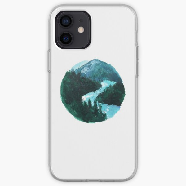 river and mountains illustration iPhone Soft Case