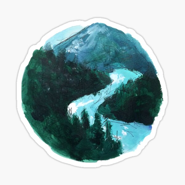river and mountains illustration Sticker