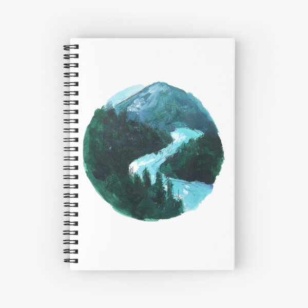 river and mountains illustration Spiral Notebook
