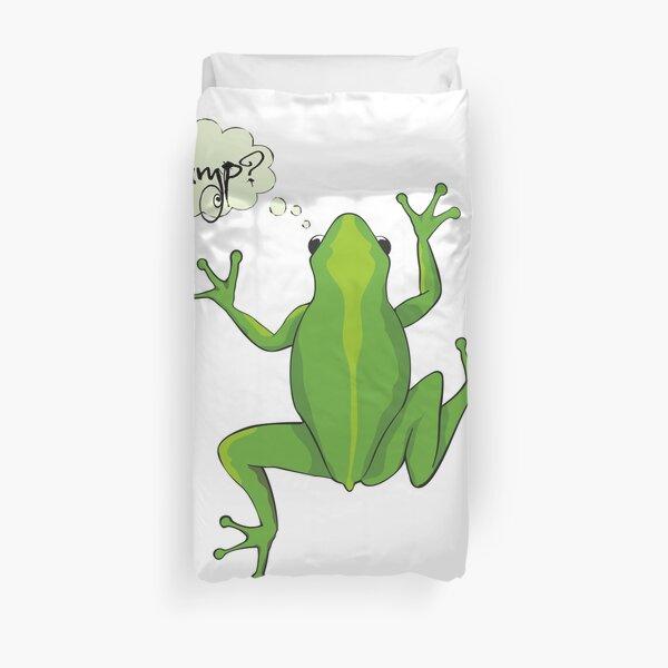 Green Tree Frog Jumping Cartoon  Duvet Cover