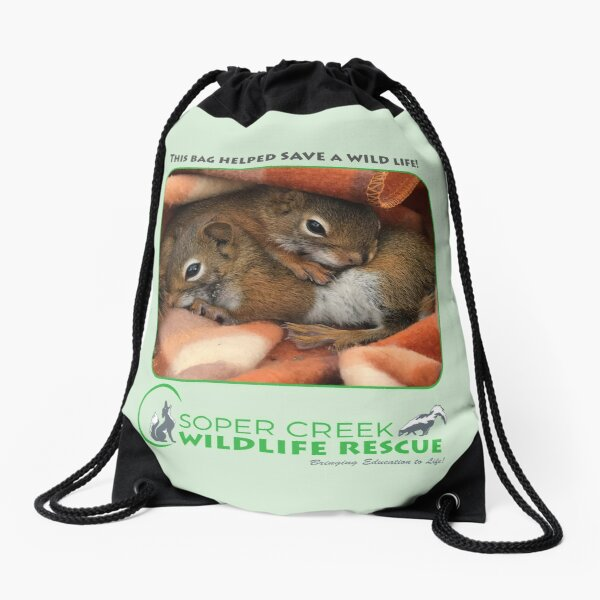 Peanut and Sunflower, squirrels - This bag helped SAVE a WILD life! Drawstring Bag