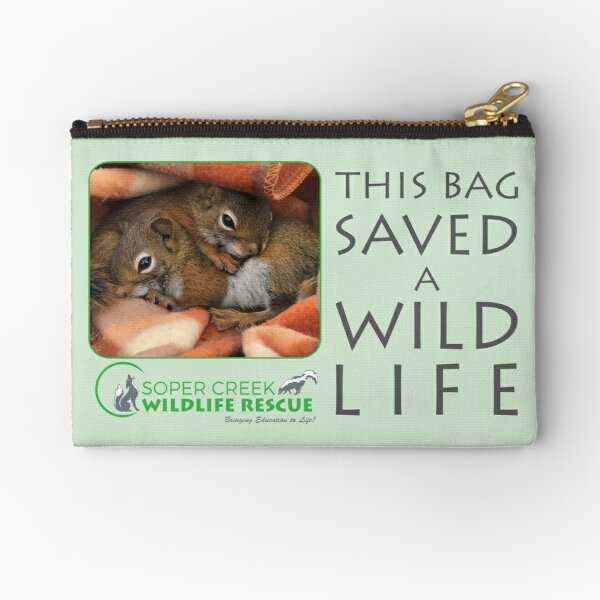 Peanut and Sunflower, squirrels - This bag helped SAVE a WILD life! Zipper Pouch