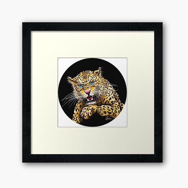 Leopard Roar - Shee Endangered Retro Animals Framed Art Print