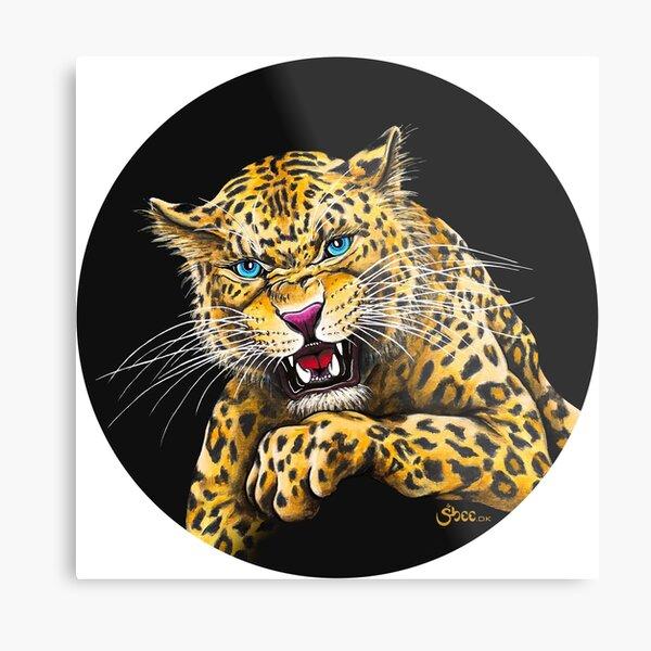 Leopard Roar - Shee Endangered Retro Animals Metal Print