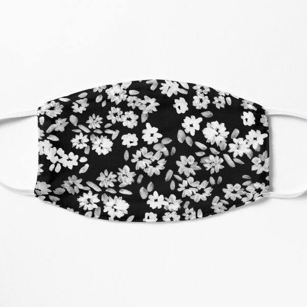 Small Painted Flowers Black and White Flat Mask