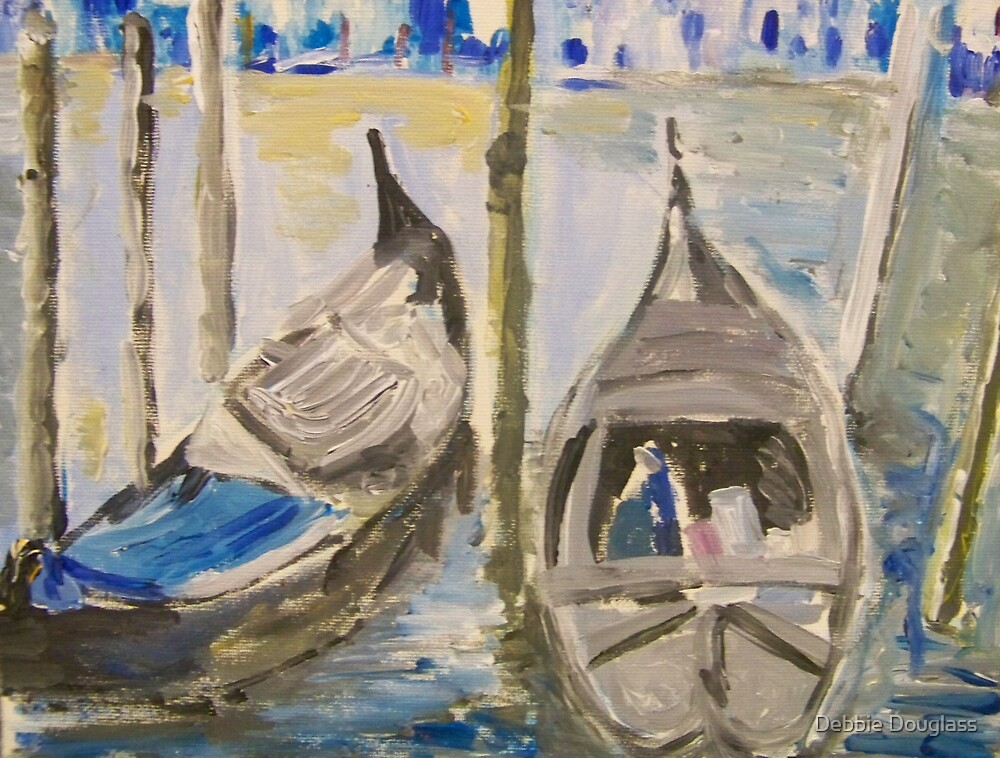 Two Gondolas in Venice by Debbie Douglass