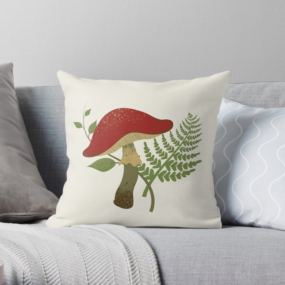 Mushroom and Fern  Throw Pillow
