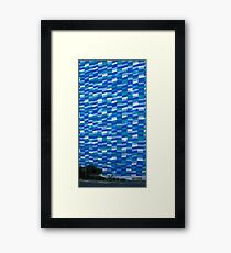 Blue And White Facade With Dumpster Framed Print