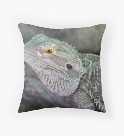 Portrait of a Dragon Lizard Throw Pillow