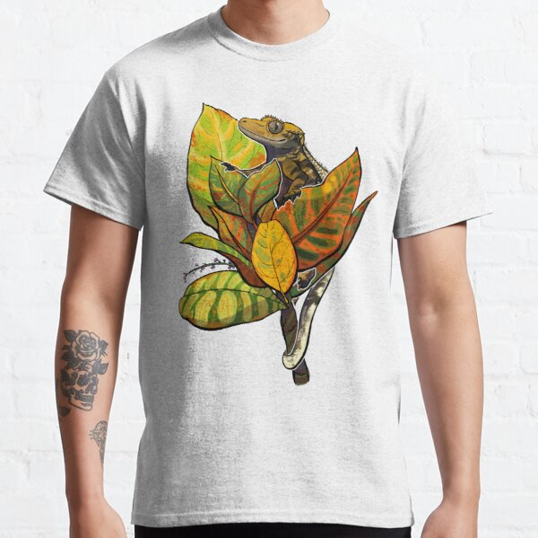Harlequin Crested Gecko on Croton • Digital Cartoon Painting Classic T-Shirt