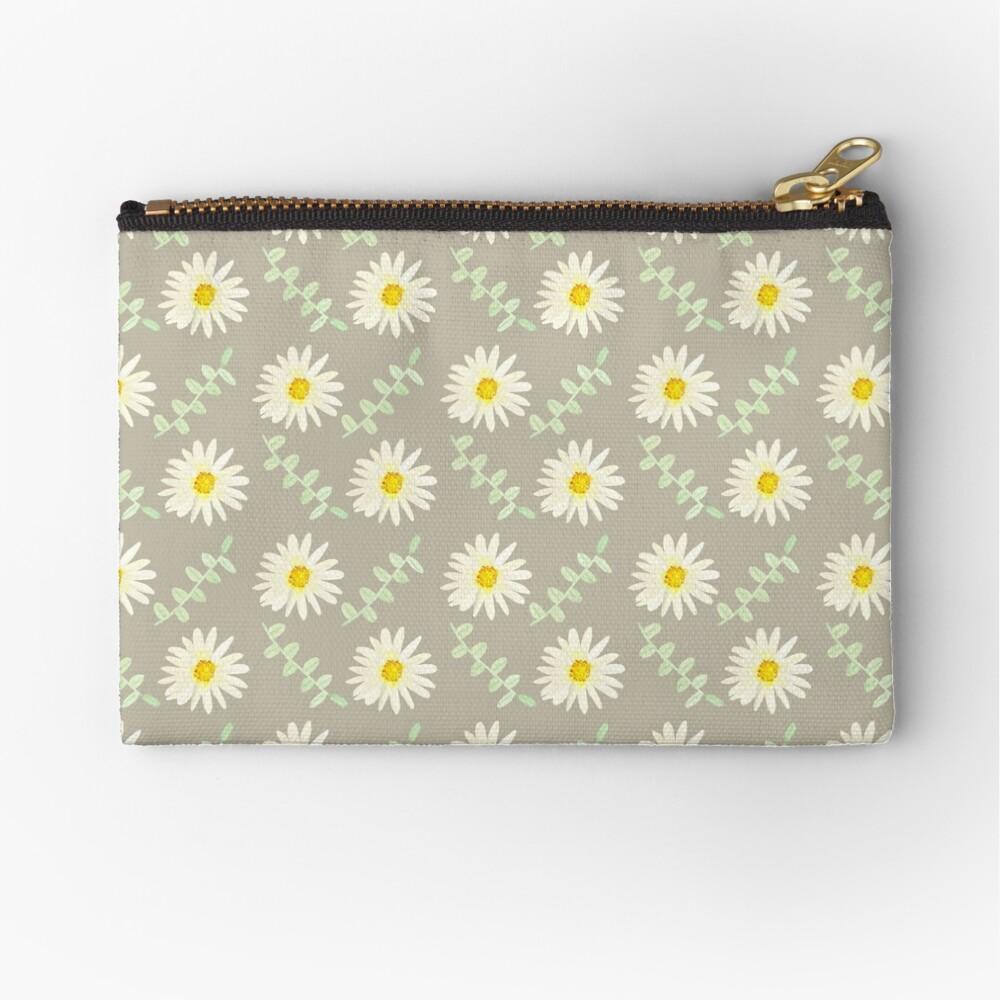 Daisy | Watercolor | Art | Pattern | Grey Zipper Pouch