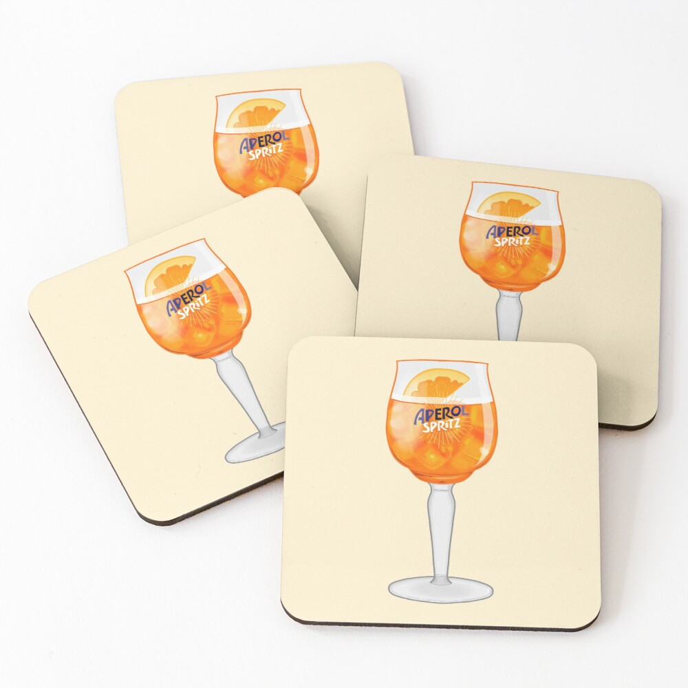 Aperol Spritz in a Glass Coasters (Set of 4)