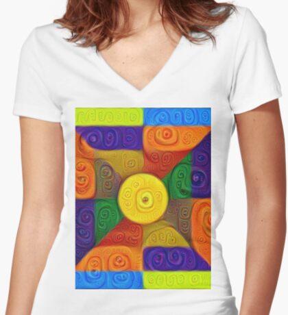 DeepDream Color Squares Visual Areas 5x5K v1447854295 Fitted V-Neck T-Shirt