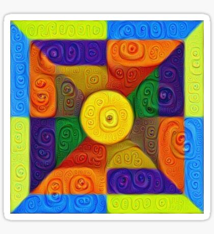DeepDream Color Squares Visual Areas 5x5K v1447854295 Sticker