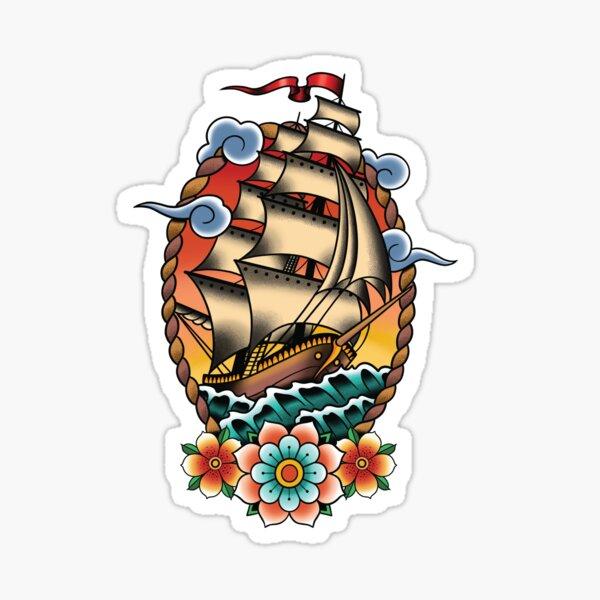 Traditional Tattoo Sailing Ship, Clipper Ship Illustration Sticker