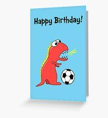 Funny Cartoon Dinosaur Soccer Birthday Card Greeting Card