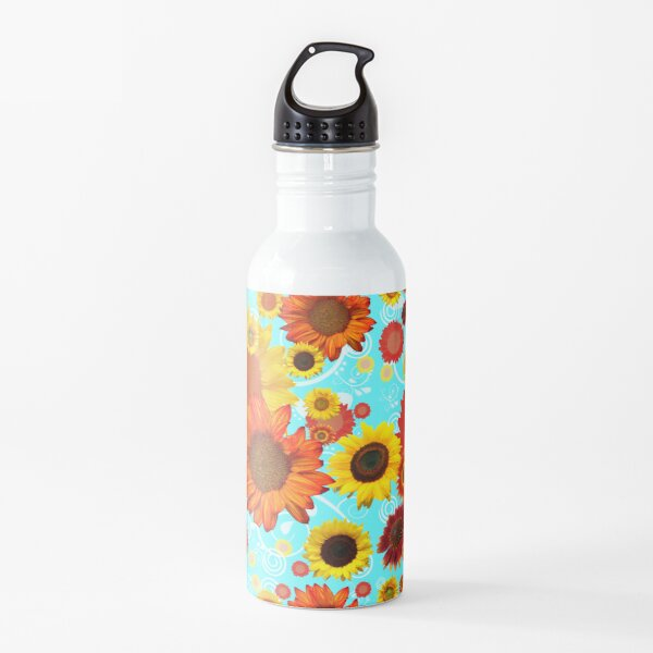 Sunflowers, blue skies, what more can one want? Water Bottle