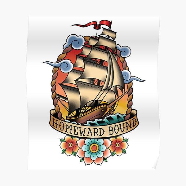 Bateau à voile traditionnel de tatouage lié à la maison Poster