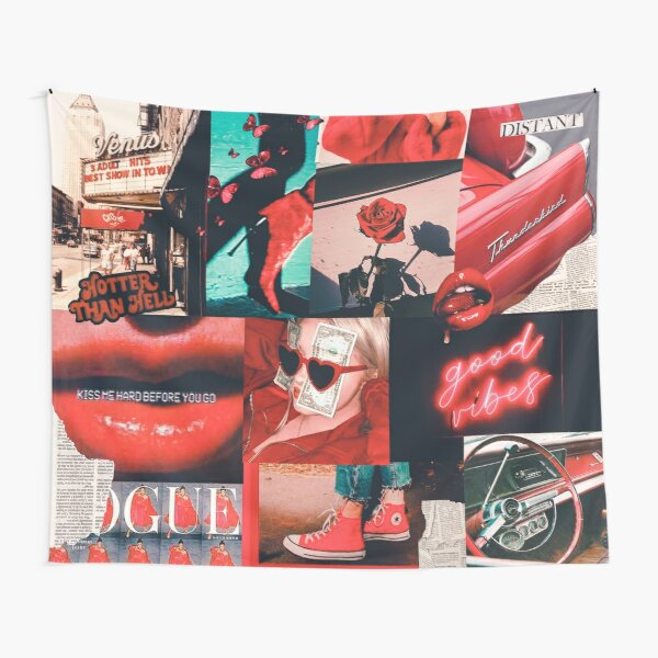 Red Vintage Fashion Collage Tapestry