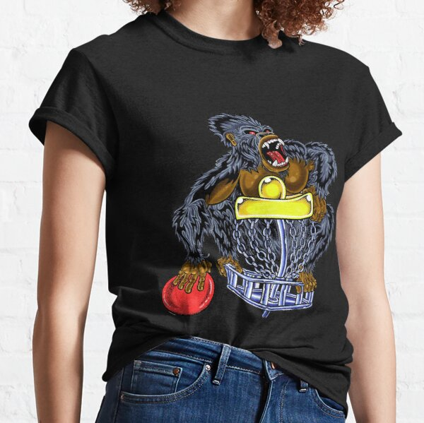 Disc Golf T Shirt-Sticker: Angry Gorilla Disc Golf Basket Design, phone case Classic T-Shirt