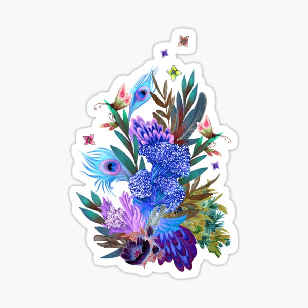floral pattern with peacock feathers  Sticker