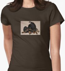 Rottweiler Puppies Playing Womens Fitted T-Shirt