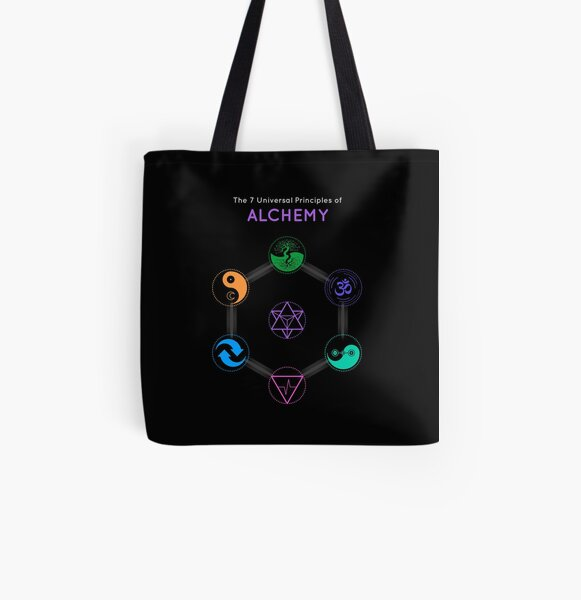 The 7 Universal Principles of Alchemy - Shee Symbols All Over Print Tote Bag