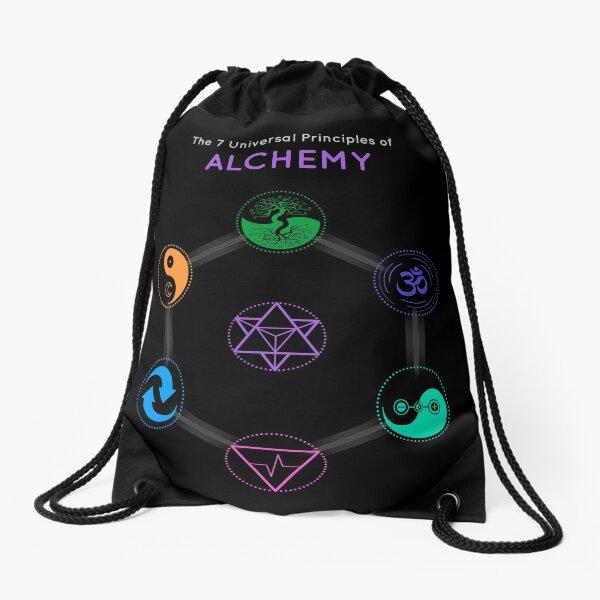 The 7 Universal Principles of Alchemy - Shee Symbols Drawstring Bag