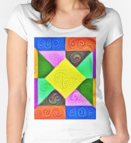 DeepDream Color Squares Visual Areas 5x5K v1447913433 Fitted Scoop T-Shirt