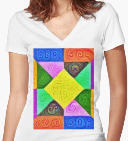 DeepDream Color Squares Visual Areas 5x5K v1447913433 Fitted V-Neck T-Shirt