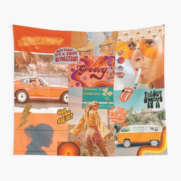 Orange 70s Groovy Collage Tapestry