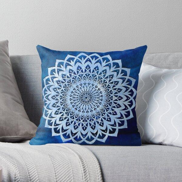 Blue Mandala Flower Throw Pillow