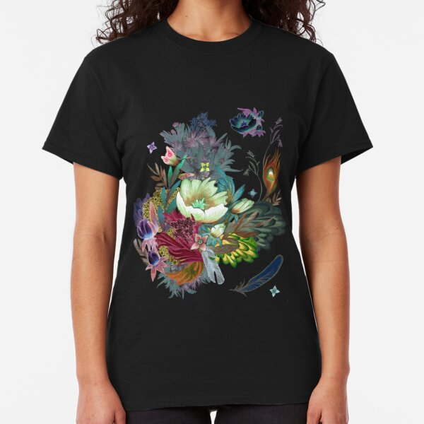 floral pattern with Althaea Officinalis Classic T-Shirt