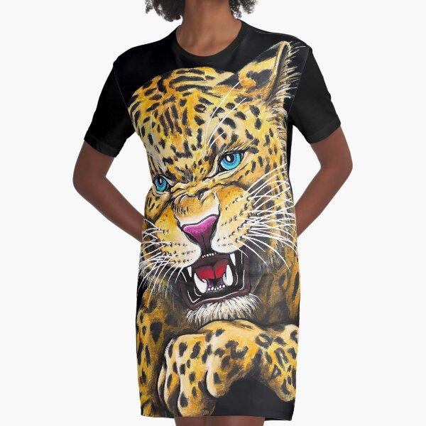 Leopard Roar - Shee Endangered Retro Animals Graphic T-Shirt Dress