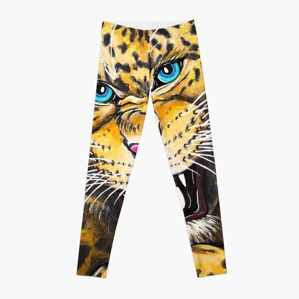 Leopard Roar - Shee Endangered Retro Animals Leggings