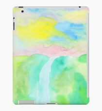 Watercolor Hand-Drawn Colorful Waterfall Painting in Pastel Tones iPad Case/Skin