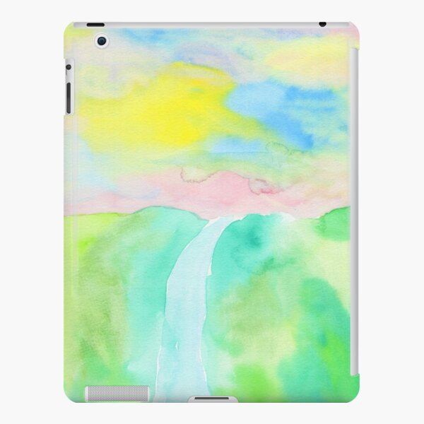 Watercolor Hand-Drawn Colorful Waterfall Painting in Pastel Tones iPad Snap Case