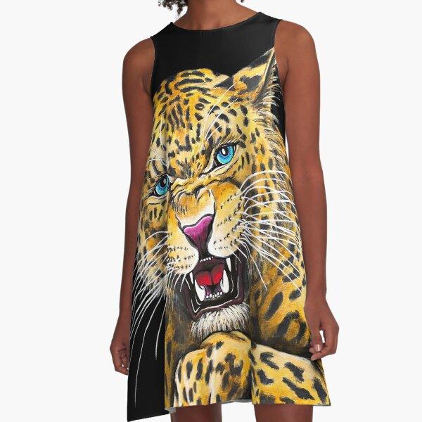 Leopard Roar - Shee Endangered Retro Animals A-Line Dress