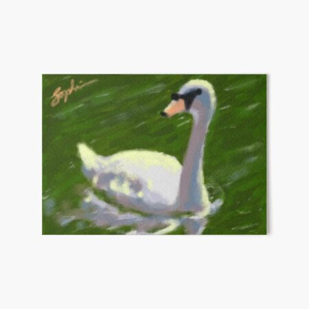 Swan on Lake Art Board Print