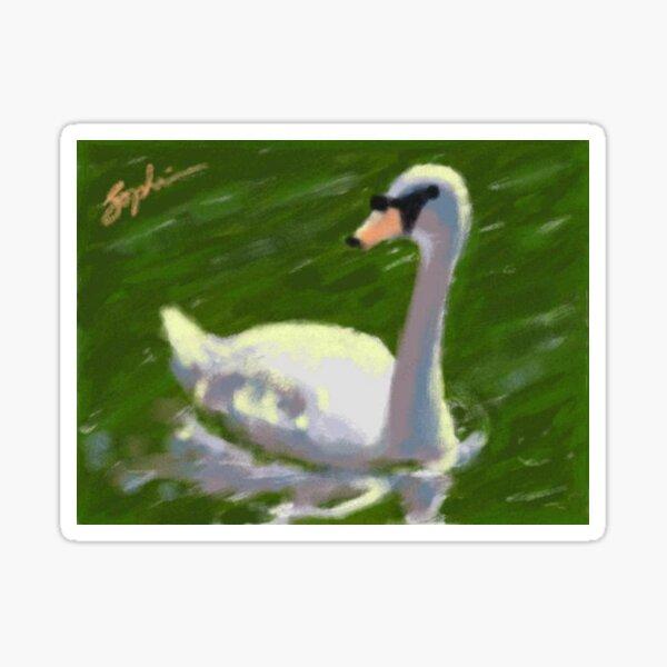 Swan on Lake Sticker