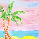 Hand-Painted Beach Resort Sand Coconut Trees Watercolor Painting by Beverly Claire Kaiya