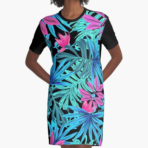 Neon Summer Tropical Leaves Pattern Graphic T-Shirt Dress